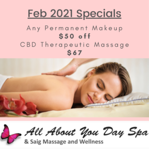 All About You Day Spa - February 2021 Specials